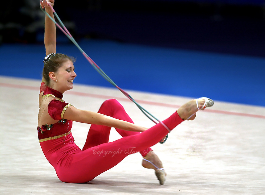 Sep 28, 2000; SYDNEY, AUSTRALIA:<br /> Eva Serrano of France performs with rope during rhythmic gymnastics qualifying round at 2000 Summer Olympics.