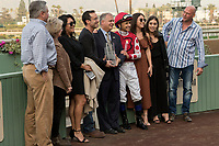 ARCADIA, CA  JANUARY 07:Mike Smith and the connections of #8 Midnight Bisou in the winners circle after she broke her maiden winning the Santa Ynez Stakes (Grade ll) on January 7, 2018, at Santa Anita Park in Arcadia, CA. (Photo by Casey Phillips/ Eclipse Sportswire/ Getty Images)