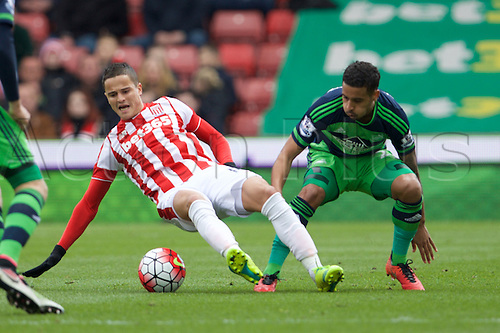 02.04.2016. Britannia Stadium, Stoke, England. Barclays Premier League. Stoke City versus Swansea City.  Stoke City midfielder Ibrahim Afellay and Swansea City defender Jordi Amat.