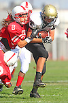 Lawndale, CA 09/29/11 - Shane Scott (Peninsula #18) in action during the Peninsula - Lawndale Junior Varsity Football game.