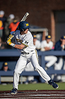 Michigan Wolverines third baseman Blake Nelson (10) at bat against the Rutgers Scarlet Knights on April 26, 2019 in the NCAA baseball game at Ray Fisher Stadium in Ann Arbor, Michigan. Michigan defeated Rutgers 8-3. (Andrew Woolley/Four Seam Images)