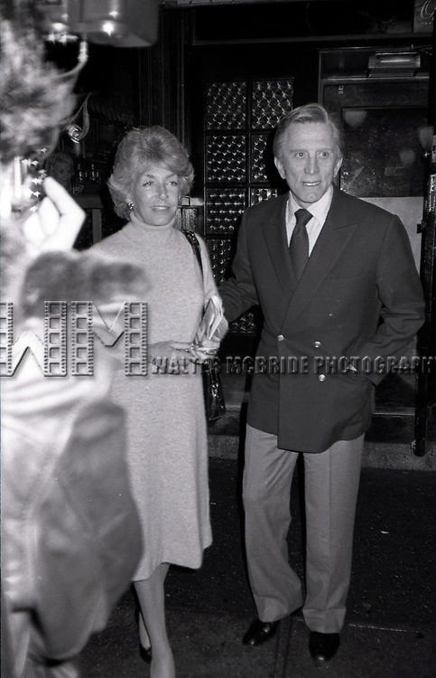 Kirk Douglas and his wife Ann Burdens having dinner at Elaines after attending a Broadway show on September 1, 1982 in New York City.