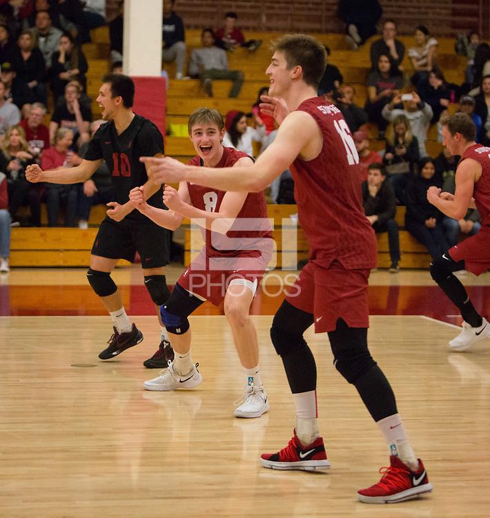 STANFORD, CA - March 10, 2018: Leo Henken, Evan Enriques, Matt Klassen at Burnham Pavilion. The Stanford Cardinal lost to UC Irvine, 3-0.