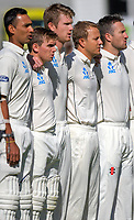 From left: Jeet Raval, Tom Latham, Jimmy Neesham, Neil Wagner and Neil Broom. Day One of the first test between the New Zealand Black Caps and South Africa Proteas at Hawkins Basin Reserve in Wellington, New Zealand on Thursday, 16 March 2017. Photo: Dave Lintott / lintottphoto.co.nz