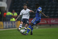 Preston North End's Sean Maguire in action with Leeds United's Ronaldo Vieira<br /> <br /> Photographer Mick Walker/CameraSport<br /> <br /> The EFL Sky Bet Championship - Preston North End v Leeds United - Tuesday 10th April 2018 - Deepdale Stadium - Preston<br /> <br /> World Copyright &copy; 2018 CameraSport. All rights reserved. 43 Linden Ave. Countesthorpe. Leicester. England. LE8 5PG - Tel: +44 (0) 116 277 4147 - admin@camerasport.com - www.camerasport.com