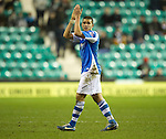 Hibs v St Johnstone.....11.02.13      SPL.Mehdi Abeid applauds the travelling fans.Picture by Graeme Hart..Copyright Perthshire Picture Agency.Tel: 01738 623350  Mobile: 07990 594431
