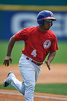 Buffalo Bisons second baseman Ramon Santiago (4) scores a run during a game against the Scranton/Wilkes-Barre RailRiders on June 10, 2015 at Coca-Cola Field in Buffalo, New York.  Scranton/Wilkes-Barre defeated Buffalo 7-2.  (Mike Janes/Four Seam Images)