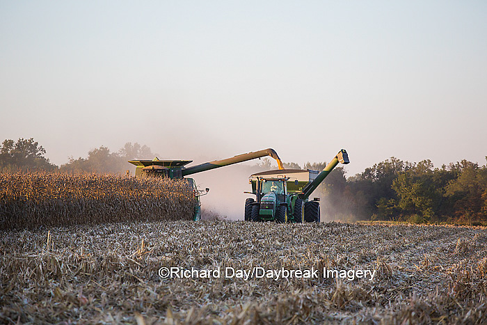 63801-06616 John Deere combine harvesting corn while unloading corn into wagon, Marion Co., IL