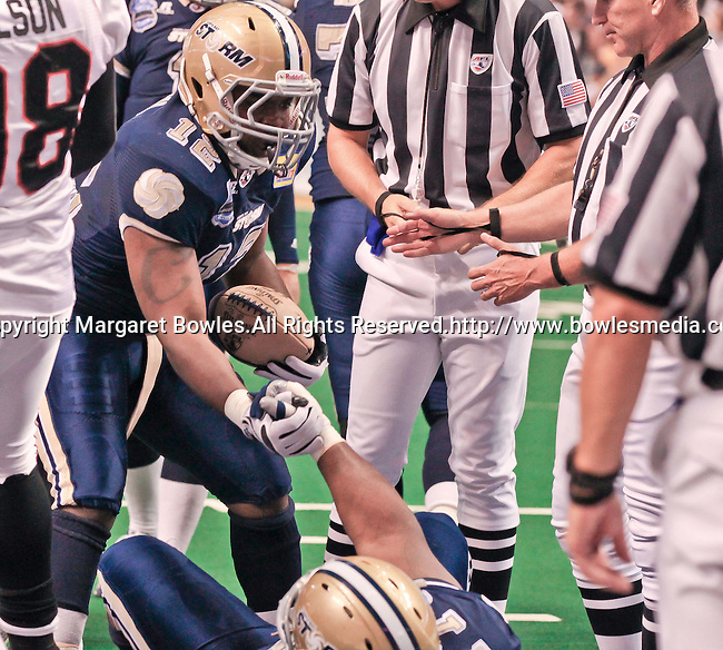 Aug 14, 2010: Tampa Bay Storm fullback Terrence Royal (#12). The Storm defeated the Predators 63-62 to win the division title at the St. Petersburg Times Forum in Tampa, Florida. (Mandatory Credit:  Margaret Bowles)