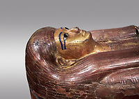 Acient Egyptian sacophagus of Kha -  inner coffin from  tomb of Kha, Theban Tomb 8 , mid-18th dynasty (1550 to 1292 BC), Turin Egyptian Museum. Grey background