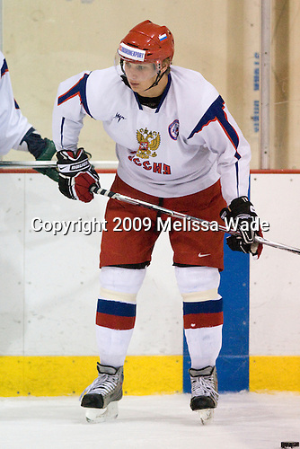 Evgeny Timkin (Russia - 22) - Team Russia practiced on Thursday, August 13, 2009, in the USA (NHL-sized) Rink in Lake Placid, New York, during the 2009 USA Hockey National Junior Evaluation Camp.