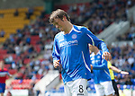 St Johnstone v Rangers... 30.07.11   SPL Week 2.Murray Davidson reacts after dragging his shot wide.Picture by Graeme Hart..Copyright Perthshire Picture Agency.Tel: 01738 623350  Mobile: 07990 594431