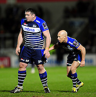 Eifion Lewis-Roberts and Peter Stringer of Sale Sharks look on. European Rugby Challenge Cup quarter final, between Sale Sharks and Montpellier on April 8, 2016 at the AJ Bell Stadium in Manchester, England. Photo by: Patrick Khachfe / JMP