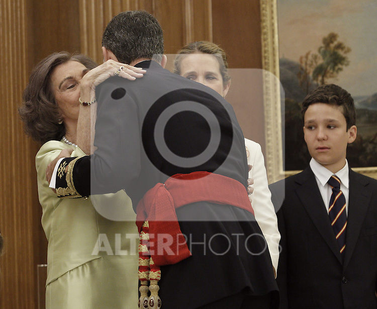Prince Felipe VI of Spain kissing his mother Queen Sofia of Spain at the official ceremony to become chief commander of the spanish military forces. . June 19 ,2014. (ALTERPHOTOS/EFE/Pool)