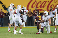 Tempe, AZ - October 18, 2014: The Stanford Cardinal vs Arizona State Sun Devils game at Sun Devil Stadium in Tempe, AZ. Final score, Stanford Cardinal 10, Arizona State Cougars 26