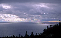 399-67 Light Pierces Throught the Clouds above Lake Superior, from the Orphan Lake Trail, Lake Superior Provincial Park, Ontario, Canada