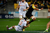 9th June 2017, Westpac Stadium, Wellington, New Zealand; Super Rugby; Hurricanes versus Chiefs;  Hurricanes' Ardie Savea (R is tackled by Chiefs' Charlie Ngatai