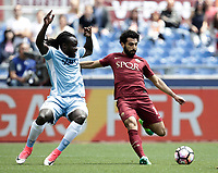 Calcio, Serie A: Roma, stadio Olimpico, 30 aprile 2017.<br /> AS Roma's Mohamed Salah (r) in action with Lazio's Jordan Lukaku (l) during the Italian Serie A football match between AS Roma an Lazio at Rome's Olympic stadium, April 30 2017.<br /> UPDATE IMAGES PRESS/Isabella Bonotto
