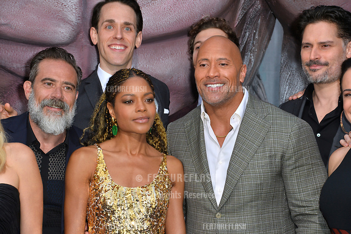 Jeffrey Dean Morgan, Naomie Harris, Jason Liles, Dwayne Johnson &amp; Joe Manganiello at the premiere for &quot;Rampage&quot; at the Microsoft Theatre, Los Angeles, USA 04 April 2018<br /> Picture: Paul Smith/Featureflash/SilverHub 0208 004 5359 sales@silverhubmedia.com