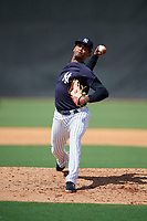 New York Yankees pitcher Luis Gil (32) delivers a pitch during a Florida Instructional League game against the Philadelphia Phillies on October 11, 2018 at Yankee Complex in Tampa, Florida.  (Mike Janes/Four Seam Images)