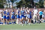 Santa Barbara, CA 02/13/10 - Ashley Antoon-Algieri (UCSB # 36), Leah Manooch (Florida # 9) and Katie Weisz (Florida # 12) in action during the UCSB-Florida game at the 2010 Santa Barbara Shoutout, UCSB defeated Florida 9-8.