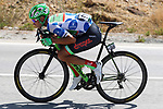 Breakaway man Polka Dot Jersey David Villella (ITA) Cannondale Drapac descends during Stage 13 of the 2017 La Vuelta, running 198.4km from Coin to Tomares, Seville, Spain. 1st September 2017.<br />