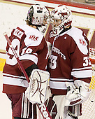 Steve Mastalerz (UMass - 39), Kevin Boyle (UMass - 33) - The Boston College Eagles defeated the visiting University of Massachusetts-Amherst Minutemen 2-1 in the opening game of their 2012 Hockey East quarterfinal matchup on Friday, March 9, 2012, at Kelley Rink at Conte Forum in Chestnut Hill, Massachusetts.