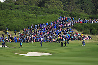 Supporters along the 9th fairway during Day 1 Foursomes at the Solheim Cup 2019, Gleneagles Golf CLub, Auchterarder, Perthshire, Scotland. 13/09/2019.<br /> Picture Thos Caffrey / Golffile.ie<br /> <br /> All photo usage must carry mandatory copyright credit (© Golffile | Thos Caffrey)