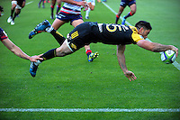 Nehe Milner-Skudder scores during the Super Rugby match between the Hurricanes and Rebels at Westpac Stadium, Wellington, New Zealand on Saturday, 4 March 2017. Photo: Dave Lintott / lintottphoto.co.nz