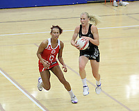 20.1.2014 New Zealand's Laura Langman competes for ball with England's Serena Guthrie during their netball test match in London, England. Mandatory Photo Credit (Pic: David Klein). ©Michael Bradley Photography.