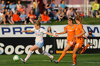 Ella Masar (3) of the Chicago Red Stars is chased by Brittany Taylor (14) of Sky Blue FC. Sky Blue FC defeated the Chicago Red Stars 1-0 in a Women's Professional Soccer (WPS) match at Yurcak Field in Piscataway, NJ, on April 11, 2010.