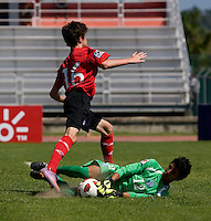 Roberto Lopez (12) of Honduras pulls the ball away from Jay Chapman (16) of Canada during the group stage of the CONCACAF Men's Under 17 Championship at Catherine Hall Stadium in Montego Bay, Jamaica. Canada tied Honduras, 0-0.
