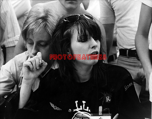 Pretenders 1980 Chrissie Hynde at Tower Records.<br /> &copy; Chris Walter