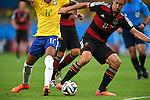 Luiz Gustavo (BRA), Miroslav Klose (GER),<br /> JULY 8, 2014 - Football / Soccer : FIFA World Cup 2014 semi-finals match between Brazil 1-7 Germany at Mineirao stadium in Belo Horizonte, Brazil.<br /> (Photo by FAR EAST PRESS/AFLO)
