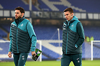 Angel Rangel and Tom Carroll inspect the pitch prior to the Premier League match between Everton and Swansea City at Goodison Park, Liverpool, England, UK. Monday 18 December 2017