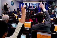 United States President Donald J. Trump takes questions as he delivers remarks on the COVID-19 (Coronavirus) pandemic during a Coronavirus Task Force briefing in the Brady Press Briefing Room at the White House in Washington, DC, March 18, 2020, in Washington, D.C. <br /> Credit: Kevin Dietsch / Pool via CNP/AdMedia