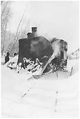 RGS 2-8-0 #41 derailed at Stapleton with (too) large wedge pilot plow.<br /> RGS  Stapleton, CO  Taken by Virden, Walter