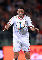 Calcio, Serie A: Roma vs Milan. Roma, stadio Olimpico, 25 aprile 2014.<br /> AC Milan defender Adil Rami, of France, controls the ball during the Italian Serie A football match between AS Roma and AC Milan at Rome's Olympic stadium, 25 April 2014.<br /> UPDATE IMAGES PRESS/Isabella Bonotto