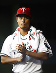Yu Darvish (Rangers),.APRIL 30, 2013 - MLB : Yu Darvish of the Texas Rangers looks on from the dugout during the baseball game against the Chicago White Sox at Rangers Ballpark in Arlington in Arlington, Texas, United States. (Photo by AFLO)