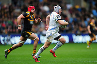 Thomas Waldrom of Exeter Chiefs goes on the attack. European Rugby Champions Cup quarter final, between Wasps and Exeter Chiefs on April 9, 2016 at the Ricoh Arena in Coventry, England. Photo by: Patrick Khachfe / JMP