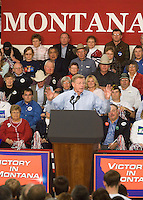 Montana Republican Senator Conrad Burns speaks at a campaign rally before the arrival President George W. Bush at MetraPark in Billings, Mont., Nov. 2, 2006.