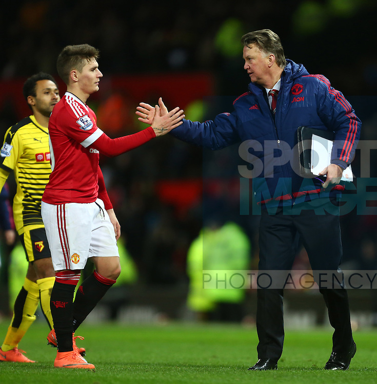 Louis Van Gaal, manager of Manchester United thanks Guillermo Varela - Barclay's Premier League - Manchester United vs Watford - Old Trafford - Manchester - 02/03/2016 Pic Philip Oldham/SportImage