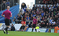 Bristol Rovers mascot watches on during the game <br /> <br /> Photographer Ashley Crowden/CameraSport<br /> <br /> The EFL Sky Bet League One - Bristol Rovers v Blackburn Rovers - Saturday 14th April 2018 - Memorial Stadium - Bristol<br /> <br /> World Copyright &copy; 2018 CameraSport. All rights reserved. 43 Linden Ave. Countesthorpe. Leicester. England. LE8 5PG - Tel: +44 (0) 116 277 4147 - admin@camerasport.com - www.camerasport.com