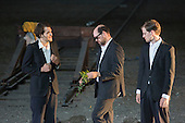 "Dinslaken, Germany. 12 August 2015. Jeff Wilbusch as Cartagine, Steven Van Watermeulen as The Thief/Ballila and Lukas von der Lühe as Renato. Performance of the Pier Paolo Pasolini play ""Accattone"" at Ruhrtriennale festival of the arts at Kohlenmischhalle of Schacht Lohberg in Dinslaken, North Rhine-Westphalia, Germany. Accattone is directed by festival director Johan Simons with music by Johann Sebastian Bach conducted by Philippe Herreweghe. With Steven Scharf as Accattone."