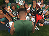 Jamal Adams #33 signs autographs for young fans after a day of New York Jets Training Camp at the Atlantic Health Jets Training Center in Florham Park, NJ on Monday, Aug. 14, 2017.