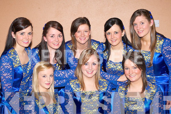 The beautiful dancers from Glenflesk who competed in the Scor Sinsear semi finals in Aras Padraig Killarney on Saturday front row l-r: Niamh Favier, Lisa Cronin, Joanne Cashman. Linda McCarthy, Angela McCarthy, Mairead Cashman, Jennifer McCarthy and Cait O'Sullivan   Copyright Kerry's Eye 2008