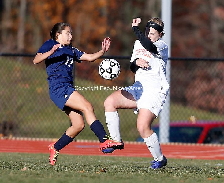 Terryville, CT- 11 November 2016-111116CM08- Bolton's Graciela Ross left, goes in for the ball against Terryville's Jordan Pilbin during their state tournament matchup on Friday.     Christopher Massa Republican-American