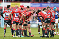 Ed Slater of Gloucester Rugby speaks to his team-mates. Gallagher Premiership match, between Gloucester Rugby and Bath Rugby on April 13, 2019 at Kingsholm Stadium in Gloucester, England. Photo by: Patrick Khachfe / Onside Images