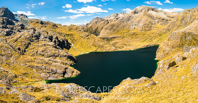 Endless views across Lake Harris from Conical Hill 1515m on Routeburn Track towards Ailsa Mountains, Mount Aspiring National Park, UNESCO World Heritage Area, Central Otago, South Island, New Zealand