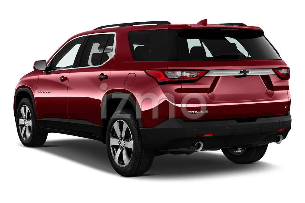 Car pictures of rear three quarter view of a 2020 Chevrolet traverse 3LT 5 Door SUV angular rear